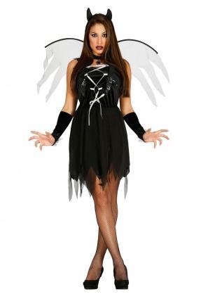 Gefallener Schwarzer Engel Kostum Todesengel Fur Damen
